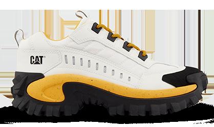 Les chaussures de la marque Caterpillar, modèle Intruder couleur jaune et blanc