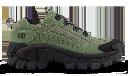 Les chaussures de la marque Caterpillar, modèle Intruder couleur vert
