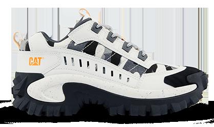 Les chaussures de la marque Caterpillar, modèle Intruder couleur blanc et gris